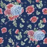 Nahtloses Muster der Weinlese mit rosa Anemonen, Eukalyptus und den blauen und rosa Hortensien vektor abbildung