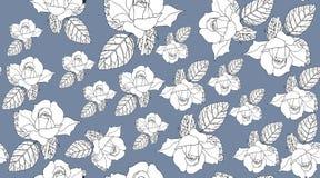 Nahtloses Muster der Weinlese mit schönen Blumen Weiße Rosen Stockfotografie