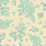 Nahtloses Muster der Weinlese mit schönen Rosen Stockfoto