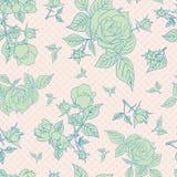 Nahtloses Muster der Weinlese mit schönen Rosen Lizenzfreie Stockfotografie