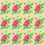 Nahtloses Muster der Weinlese mit schönen Rosen Auch im corel abgehobenen Betrag Stockfotografie