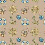 Nahtloses Muster der Weinlese mit Seeelementen, auf Sandfarbhintergrund Altes binokulares, Rettungsring, antike Segelbootsuite Lizenzfreie Stockbilder