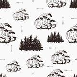 Nahtloses Muster der Weinlese mit Wellen, Wald und Pfeilen Stockfotografie