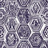 Nahtloses Muster der Weinlese in der Patchworkart Von Hand gezeichnetes Hexagon vektor abbildung