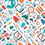 Nahtloses Muster der Wissenschaft und der Social Media-Ikone Lizenzfreie Stockfotografie