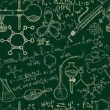 Nahtloses Muster der Wissenschaftschemie altes Labor Flüchtige Art des Weinlesehintergrundes Stockfoto
