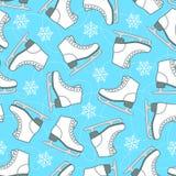 Nahtloses Muster der Zahl Rochen und Schneeflocken auf einer Weißrückseite Lizenzfreies Stockbild