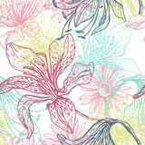 Nahtloses Muster der zarten Spitzelilien Stockfotos