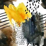 Nahtloses Muster des abstrakten Aquarells in den Herbstfarben Stockbild