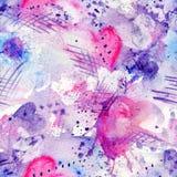 Nahtloses Muster des abstrakten Aquarells mit plätschern Stellen, Linien, fallen, spritzen und Herzen Lizenzfreie Stockfotos