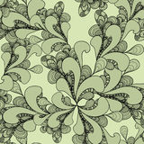 Nahtloses Muster des abstrakten Gekritzels auf Olive Stockfotos