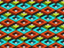 Nahtloses Muster des abstrakten geometrischen isometrischen Vektors lizenzfreies stockbild