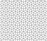 Nahtloses Muster des abstrakten geometrischen Würfels Einfacher minimalistic Grafikdesignhintergrund, Gewebeverzierung Vektor Stockbild