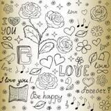 Nahtloses Muster des abstrakten Vektors mit den Wörtern der Liebe, der Rosen, der Bücher, der Blumen und der Herzen Lizenzfreie Stockbilder