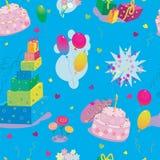Nahtloses Muster des alles- Gute zum Geburtstagpapiers im Vektor Stockfotografie