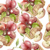 Nahtloses Muster des Apfelaquarells Lizenzfreie Stockbilder