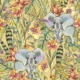 Nahtloses Muster des Aquarelldschungels, Blumen von Orchideen, Liane stock abbildung