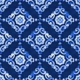 Nahtloses Muster des Aquarellkönigsblau-Velours Lizenzfreies Stockbild