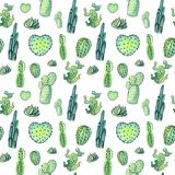 Nahtloses Muster des Aquarellkaktus Bunte vibrierende Kaktus Succulents Stockbilder