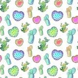Nahtloses Muster des Aquarellkaktus Bunte vibrierende Kaktus Succulents Stockfoto