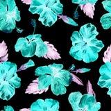 Nahtloses Muster des Aquarells Handgemalte Illustration von tropischen Blättern und von Blumen Tropisches Sommer-Motiv mit Hibisc Stockfotos