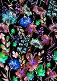 Nahtloses Muster des Aquarells, Hintergrund mit einem Blumenmuster Sch?ne Weinlesezeichnungen von Anlagen, Blumen, Weidenniederla lizenzfreie abbildung