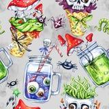 Nahtloses Muster des Aquarells, Kegel mit dem Schädel, Glasschalen mit Trank, Augen, Wulstlinge Halloween-Feiertagsillustration vektor abbildung
