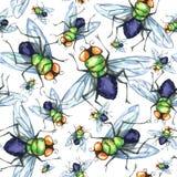 Nahtloses Muster des Aquarells, Menge von Fliegen Halloween-Feiertagsillustration lustige Insekte Kann als Postkarte verwendet we vektor abbildung