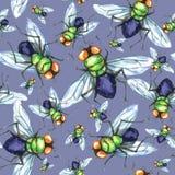 Nahtloses Muster des Aquarells, Menge von Fliegen Halloween-Feiertagsillustration lustige Insekte Kann als Postkarte verwendet we lizenzfreie abbildung