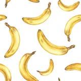 Nahtloses Muster des Aquarells mit Bananen stock abbildung