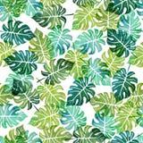 Nahtloses Muster des Aquarells mit Baumblättern Lizenzfreies Stockbild