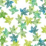 Nahtloses Muster des Aquarells mit Baumblättern Stockbilder