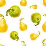 Nahtloses Muster des Aquarells mit Birnen und grünen Äpfeln Hand gezeichnetes Design Stockfotografie