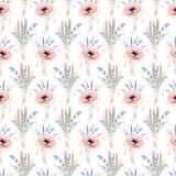 Nahtloses Muster des Aquarells mit Blumen Stockfotos