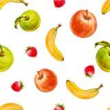 Nahtloses Muster des Aquarells mit den roten und grünen Äpfeln, den Erdbeeren und den Bananen Stockfotografie