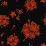 Nahtloses Muster des Aquarells mit dunkelrotem Blumenstrauß von Blumen auf schwarzem Hintergrund China-Art lizenzfreie stockbilder