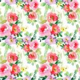 Nahtloses Muster des Aquarells mit einfachen bunten Blumen Stockfoto
