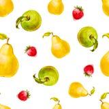 Nahtloses Muster des Aquarells mit Erdbeeren, Birnen und grünen Äpfeln Stockbilder