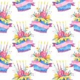 Nahtloses Muster des Aquarells mit Geburtstagskuchen und -blumen auf weißem Hintergrund vektor abbildung