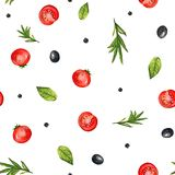 Nahtloses Muster des Aquarells mit Gemüse und Gewürz Stockfoto