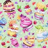 Nahtloses Muster des Aquarells mit geschmackvollen Nachtischen, Kuchen und Beeren Bunter Sommerhintergrund Ursprüngliche Hand gez vektor abbildung