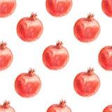 Nahtloses Muster des Aquarells mit Granatäpfeln Stockfotos
