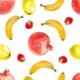Nahtloses Muster des Aquarells mit Granatapfel, Bananen und Erdbeeren Stockfoto