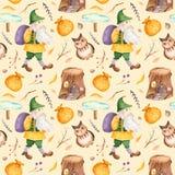 Nahtloses Muster des Aquarells mit nettem Gnomen mit Tasche, Niederlassungen, Eule, Zeiger, Stumpf stock abbildung