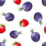 Nahtloses Muster des Aquarells mit Pflaumen und Erdbeeren Stockbilder