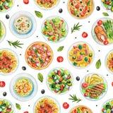 Nahtloses Muster des Aquarells mit Platten mit Lebensmittel und Gemüse Stockfoto