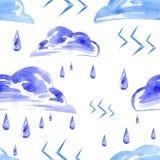 Nahtloses Muster des Aquarells mit Regen und Blitz lizenzfreie abbildung