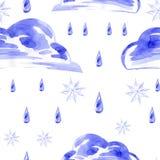 Nahtloses Muster des Aquarells mit Regen und Schnee vektor abbildung