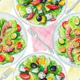 Nahtloses Muster des Aquarells mit Salaten, Servietten und Geschirr Stockbild