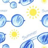 Nahtloses Muster des Aquarells mit Sonnenbrille vektor abbildung